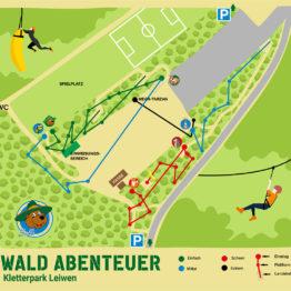 Wald-Abenteuer Kletterparks - Parkplan Leiwen