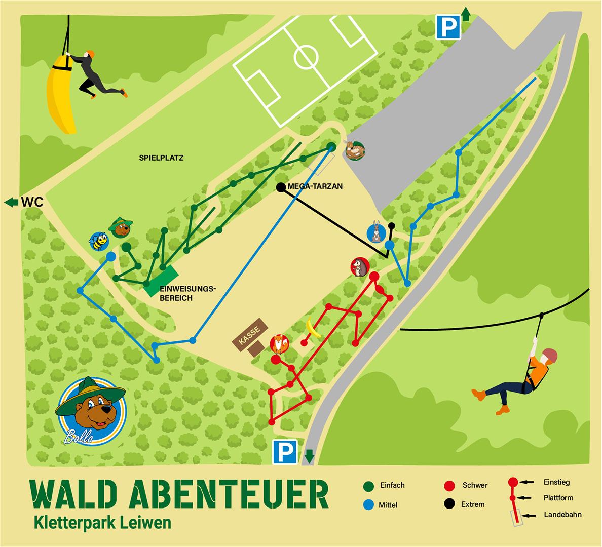 Wald-Abenteuer Parkplan Leiwen